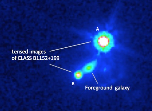 Photo: Hubble Space Telescope image of the gravitational lensing system in the new research. The background quasar is lensed by the foreground galaxy into images A and B.