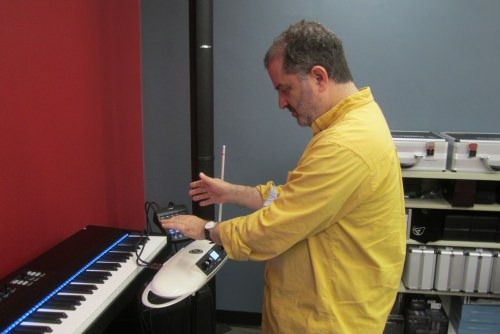 Photo: Daniel Grabois playing a theremin