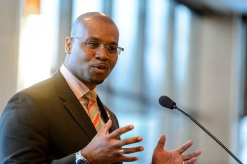 Photo: Patrick Sims giving a speech