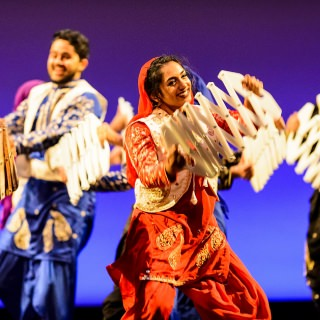 Members of Wisconsin's School of Bhangra dance during the Multicultural Orientation and Reception.