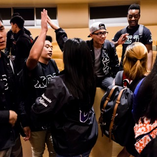 Members of Chi Sigma Tau National Fraternity, part of the Multicultural Greek Council, celebrate following the event.