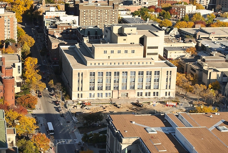 Photo: Aerial view of Memorial Library