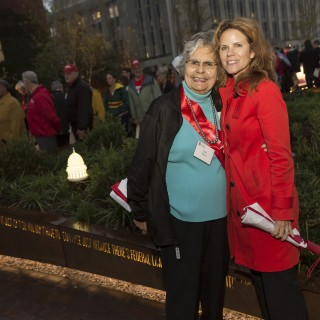 Native American advocate and scholar Ada Deer, '57, and state Rep. Chris Taylor attended the Alumni Park opening.