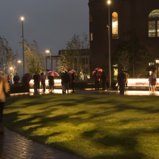Rainy weather failed to put a damper on the grand opening of Alumni Park.