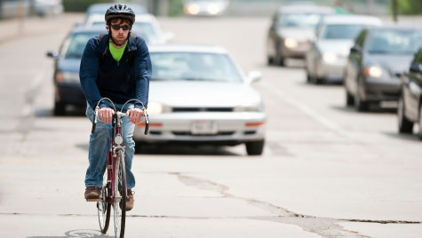 Biking to work is one of the energy-saving habits encouraged by the Cool Choices game.