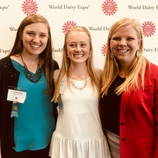 UW-Madison students Alison Wedig, Mariah Martin and Sara Griswold interned in the World Dairy Expo Media Room.