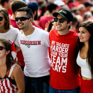 Badger fans enjoy the day as the Wisconsin Badgers take on the Maryland Terrapins.