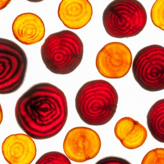 Slices of different colored beets show the presence of betalains, a class of yellow and red pigments unique to the wider beet family, the Caryophyllales.