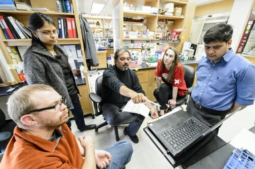 Photo: Aseem Ansari gesturing toward computer and talking with his research team