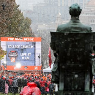 Abe watches over the festivities.
