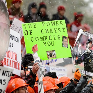 Fans pay tribute to Coach Paul Chryst.