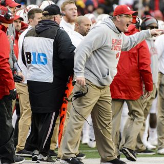 Head coach Paul Chryst lets the referees know his feelings about a call.