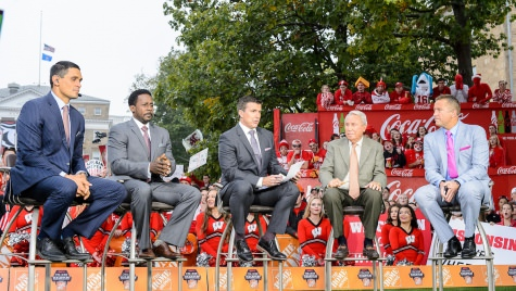 The College GameDay panel discusses the day's football games on Bascom Hill in 2016.