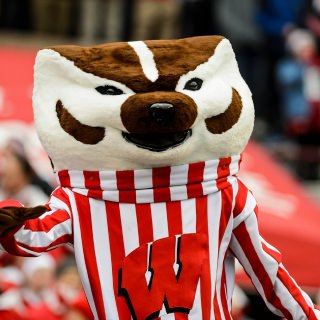 UW-Madison mascot Bucky Badger interacts with the crowd.