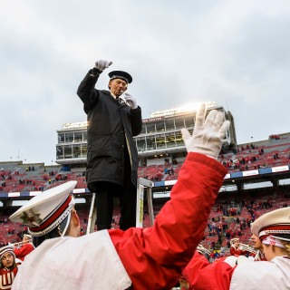 UW Marching Band Director Michael Leckrone closes out the band's fifth quarter performance of
