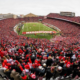 Fans fill Camp Randall Stadium at the University of Wisconsin-Madison as the Wisconsin Badgers play against the Michigan Wolverines.