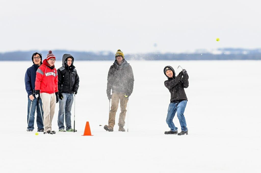 Photo: Ice golfers on Lake Mendota