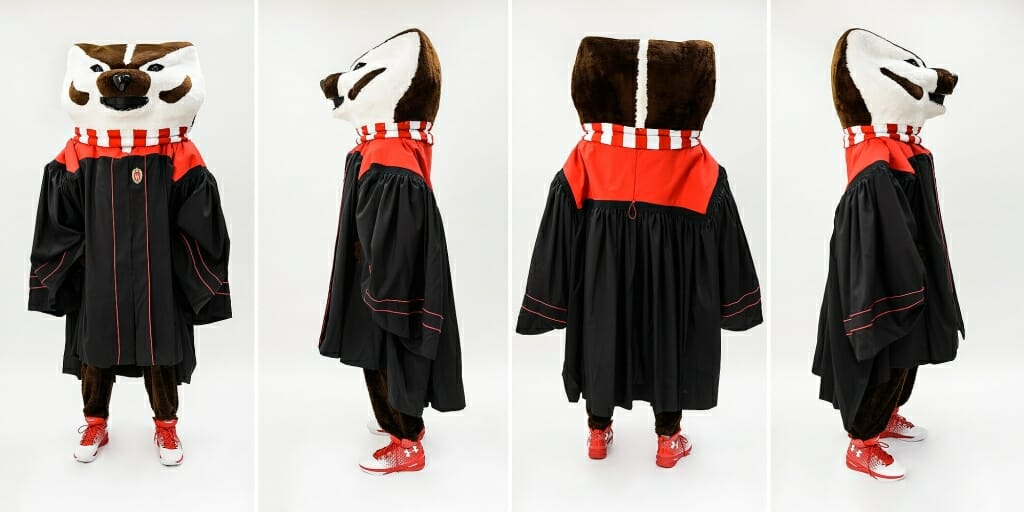 Photo: Four views of Bucky Badger wearing black and red gown