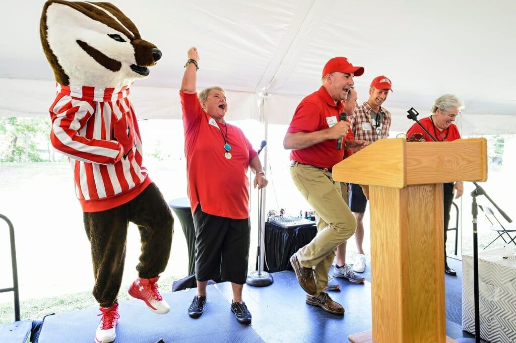 Photo: Bucky Badger and Paula Bonner leading a cheer