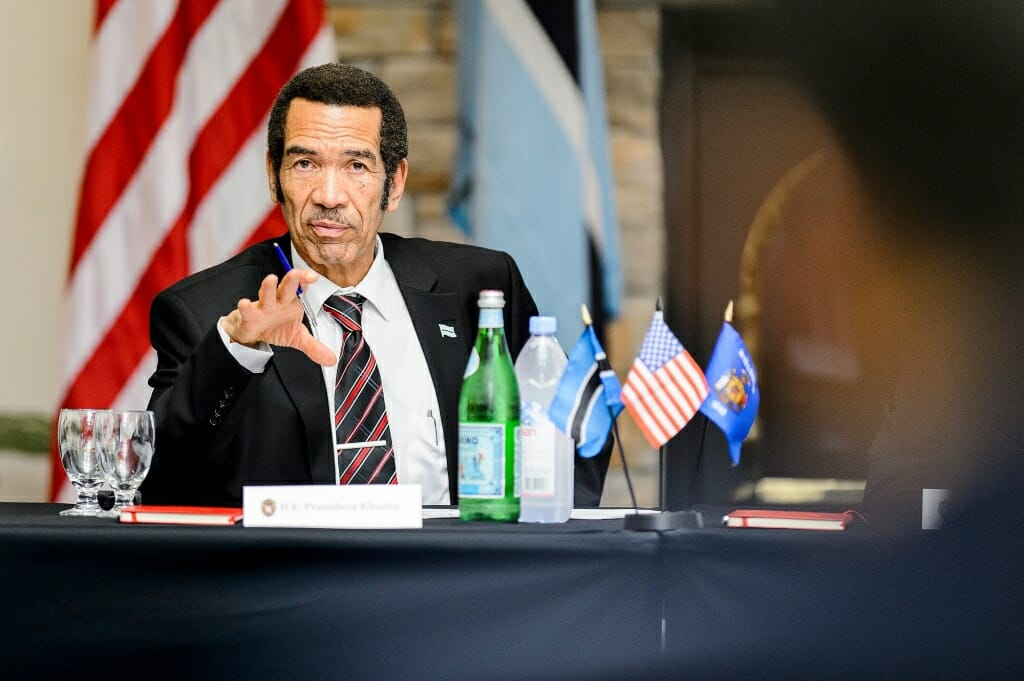 Photo: Ian Khama speaking at a table