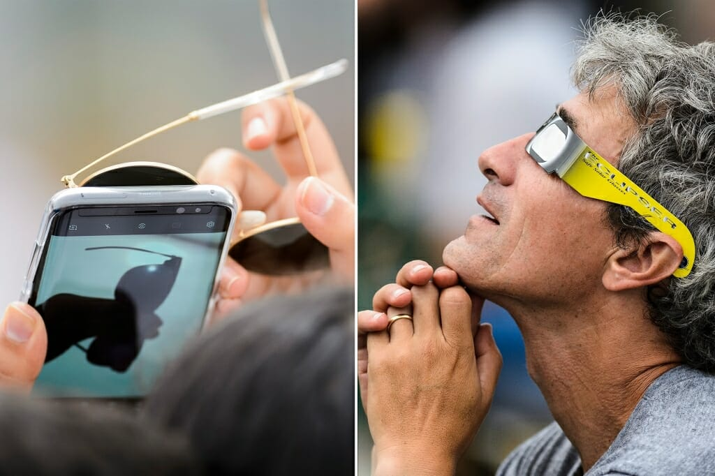 Photo: Closeups of cellphone and sunglasses (left) and man looking through eclipse glasses (right)