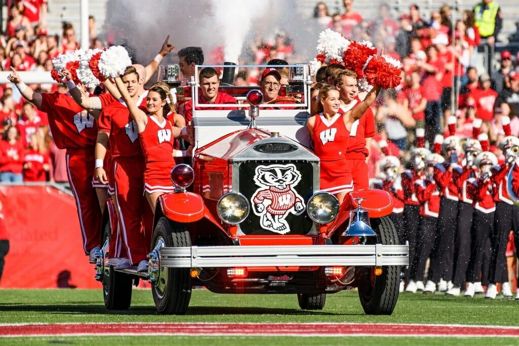 Photo: Bucky Wagon arriving on football field