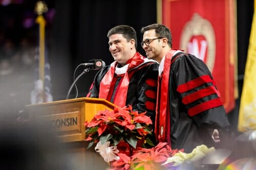 Keynote speakers Adam Horowitz '94, left, and Eddy Kitsis '93, a top Hollywood writing and producing team, kept the audience laughing.