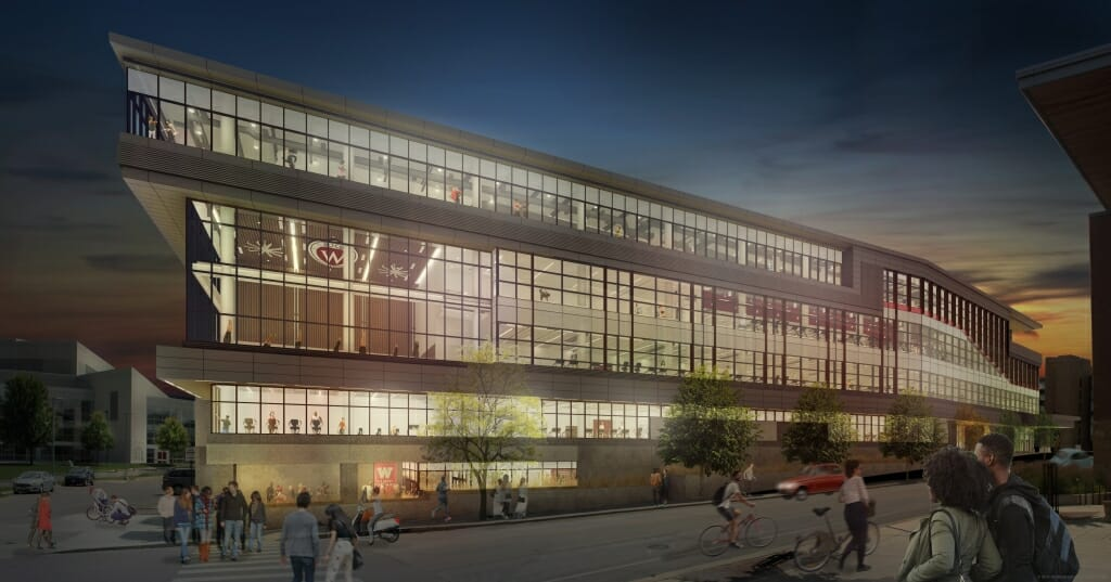 Image: Architect's rendering of Nicholas Recreation Center exterior at night