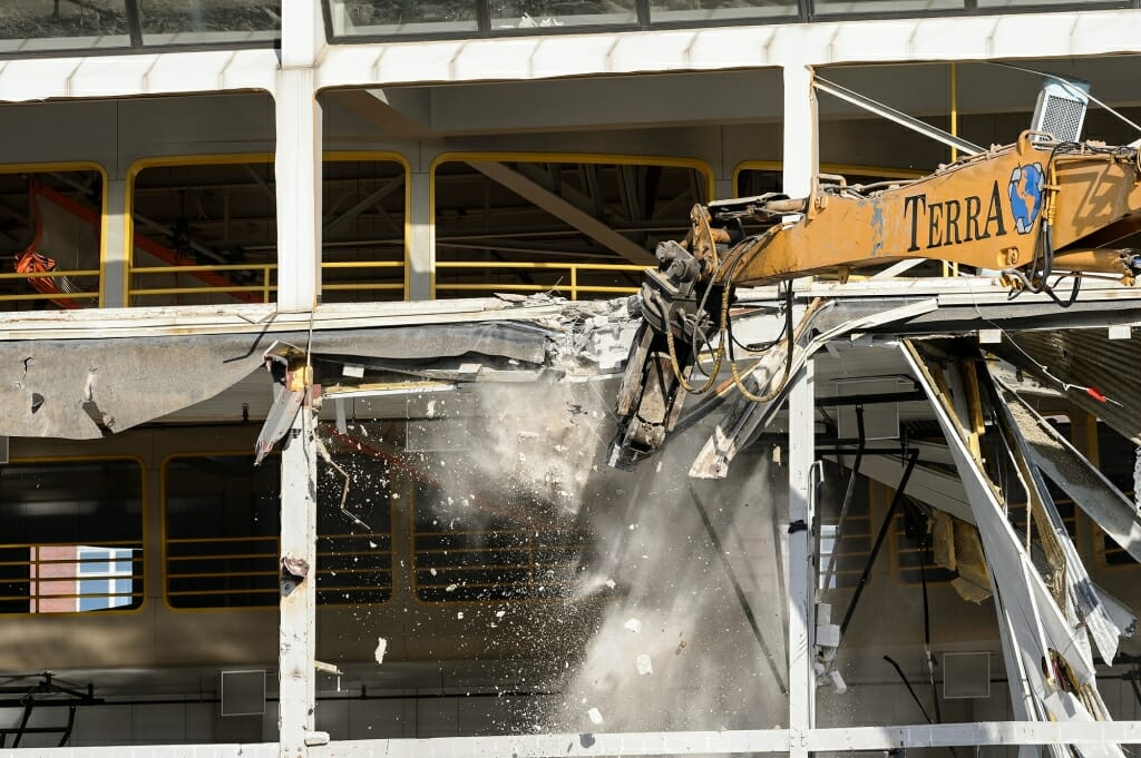 The running track on the SERF's upper floor is torn down.
