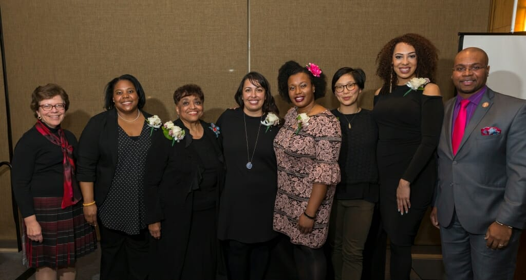 Chancellor Rebecca Blank, far left, congratulated the 10th anniversary cohort of the UW-Madison Outstanding Women of Color honorees at the annual reception on Feb. 22, at the Pyle Center. Pictured are, from left, Blank, honorees Christy Clark-Pujara, Barbara Nichols, Taucia Gonzales, Beverly Hutcherson, Helen Lee and Brianna Young with Vice Provost and Chief Diversity Officer Patrick J. Sims.