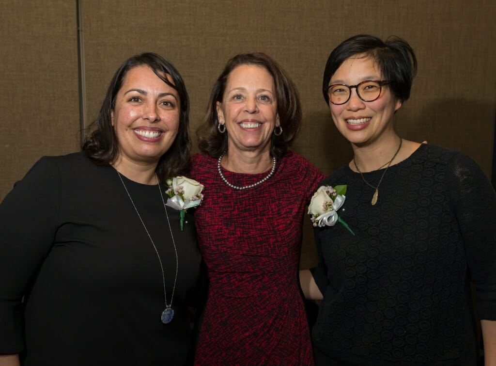 Honorees Taucia Gonzales, left, and Helen Lee, right, with Diana Hess, center, Dean of the UW School of Education.