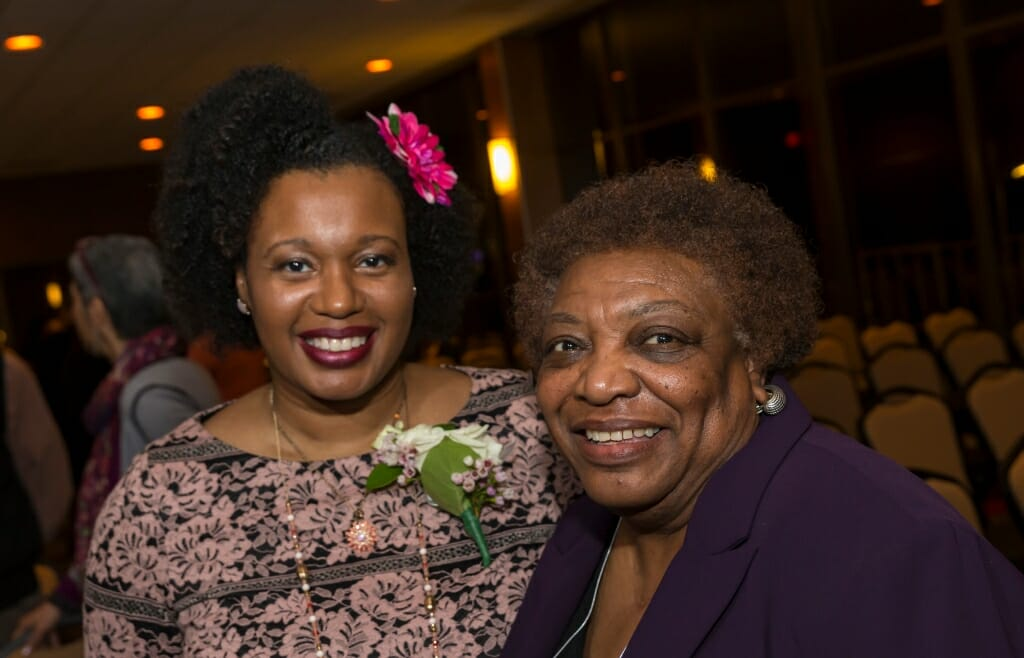 Honoree Beverly Hutcherson, left, Outreach and Communications Manager, Diversity and Inclusion at SMPH and Career Pathways Coordinator at UW Health, with Gloria Hawkins, Assistant Vice Provost and Chancellors/Powers Knapp Scholars Director in the Division of Diversity, Equity and Educational Achievement.