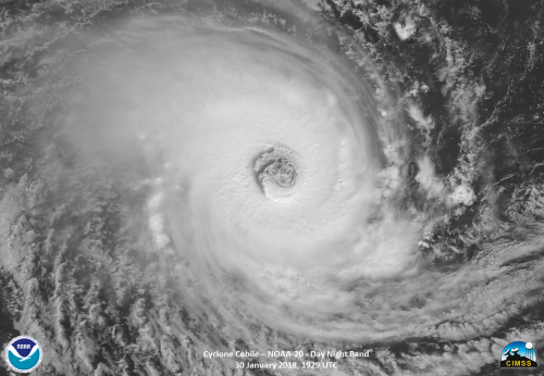 Photo: View from space of Tropical Cyclone Cebile