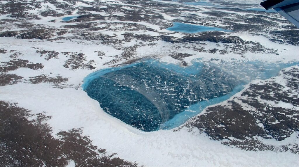 Photo: Aerial view of meltwater lake