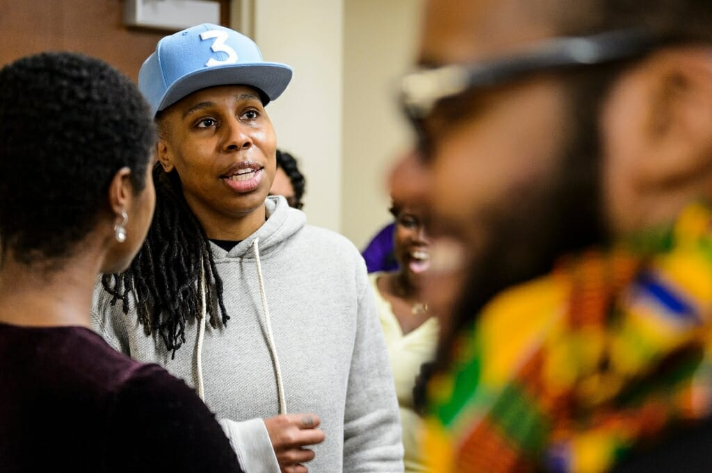 Students got a chance to chat with Emmy-winning writer, actress and producer Lena Waithe, in the blue hat, in a Black History Month event at UW-Madison in February.