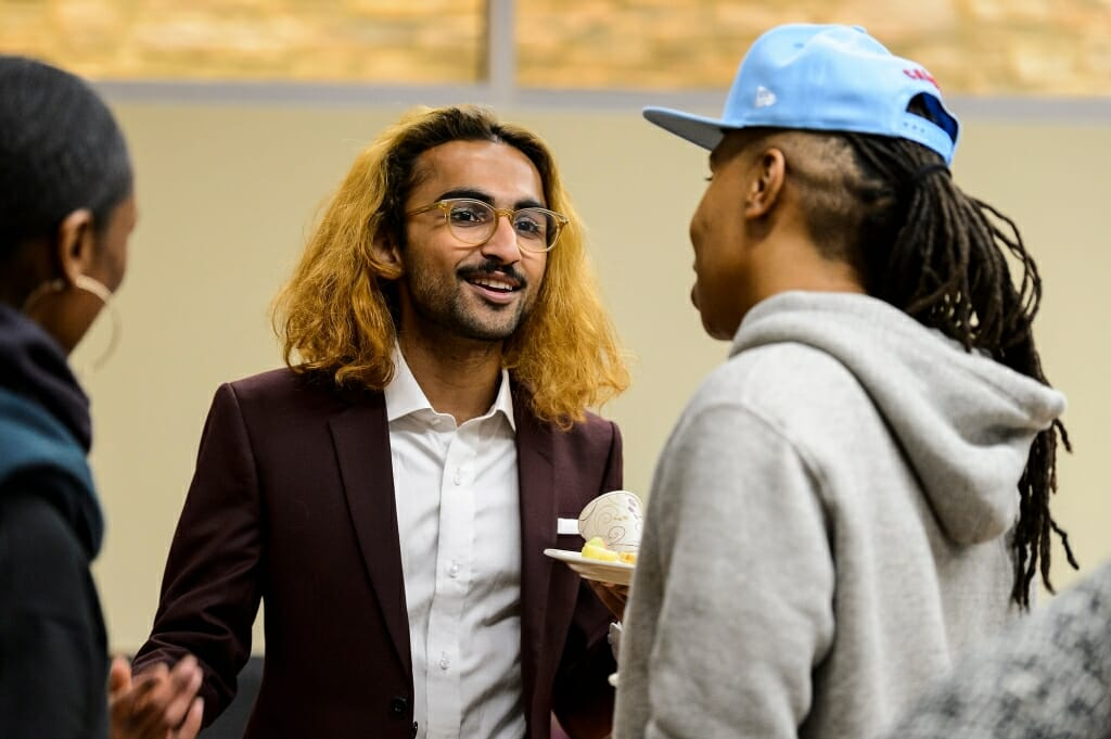 Undergraduate Ibtisam Haq chats with Waithe during the event. Waithe gave a keynote speech at Union South as part of UW-Madison's celebration of Black History Month.