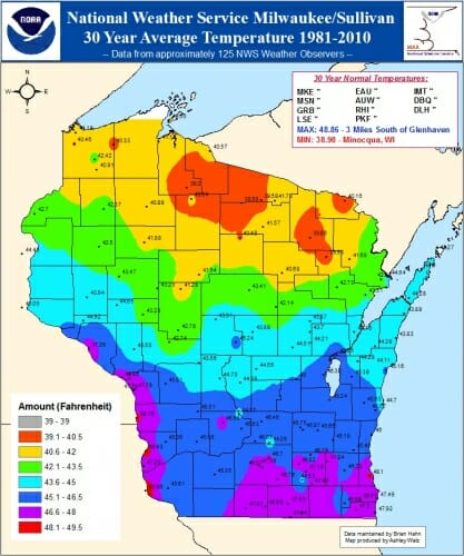 Image: A weather map of Wisconsin