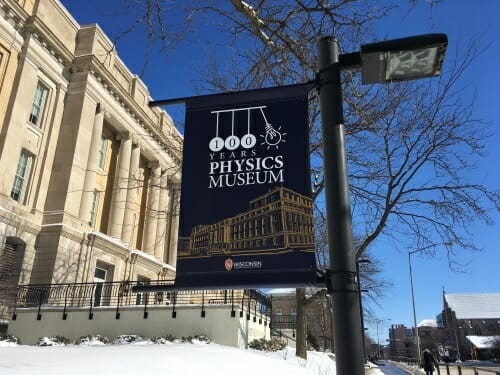 Photo: 100 year anniversary banner in front of Chamberlin Hall