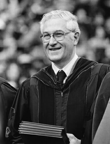 Photo: Irving Shain at a 1978 commencement ceremony