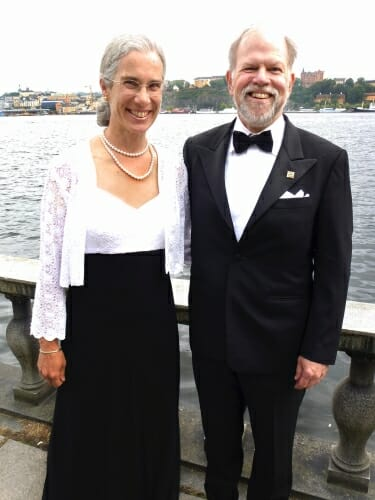 "Photo: Susan and Steve Carpenter on the Stockholm Waterfront at a party before the Stockholm Water Prize ceremony - often called the ""Nobel Prize"" of freshwater sciences - on the grounds of Stockholm City Hall, where the actual Nobel Prizes are awarded."