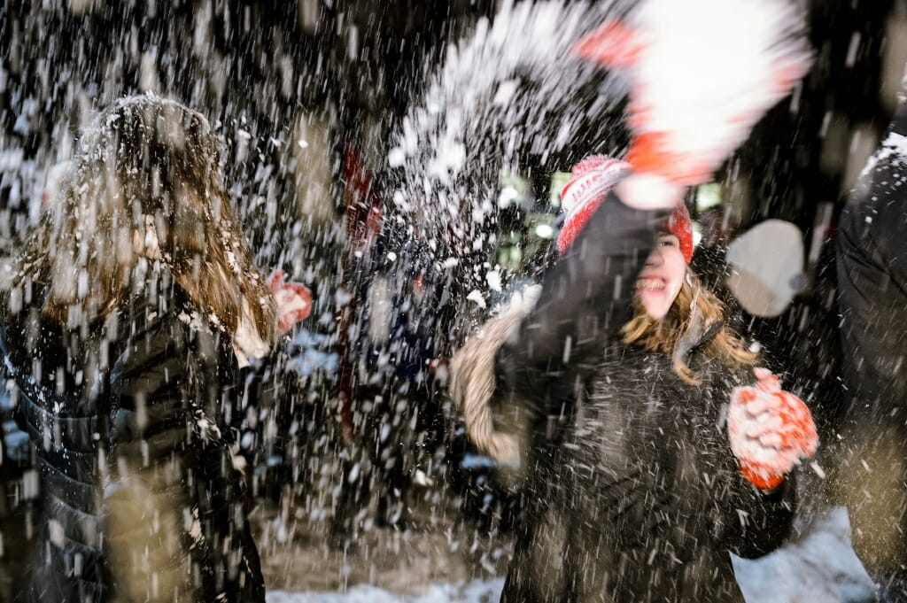 Photo of snow showering the crowd.