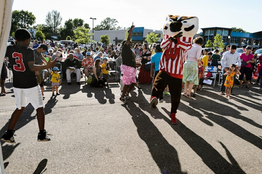 Photo: Bucky Badger leading crowd in dance