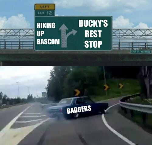 Meme of car swerving off highway
