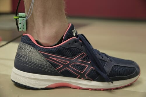 Photo: Foot with device attached to Achilles tendon