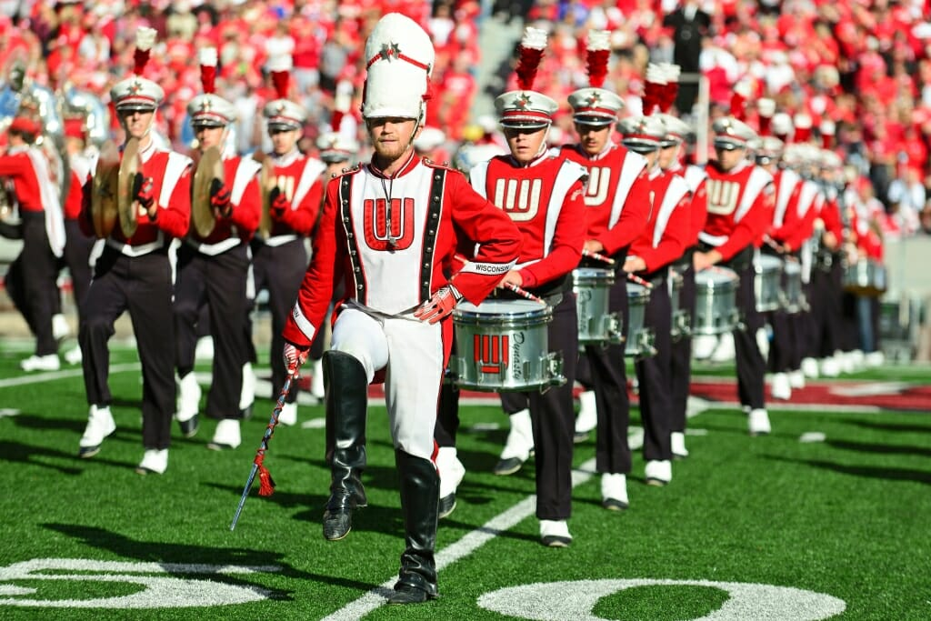 Photo: Badger Marching Band marching on 50-yard-line