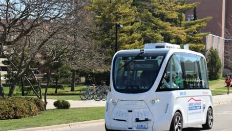 The Autonom Shuttle, an 11-seat autonomous vehicle made by the French company Navya, gave passengers a tour of parts of campus.