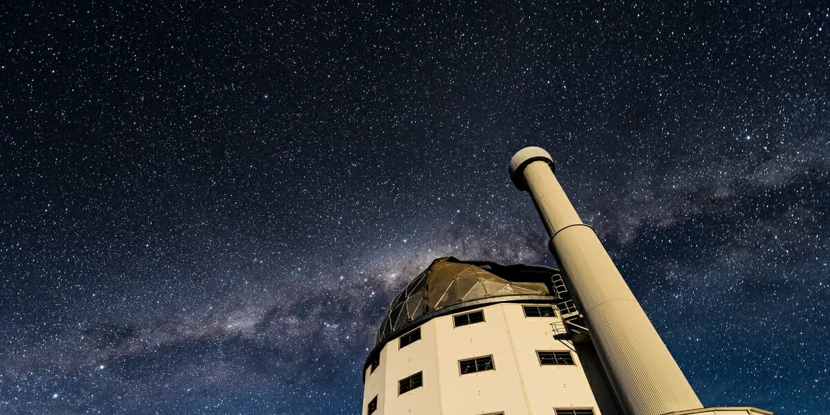 Photo: Constellations in night sky behind SALT telescope