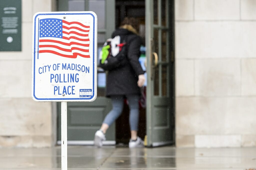 Students enter Memorial Union, one of several polling places for the spring election.