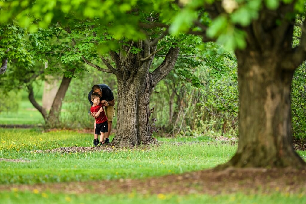 Photo: Family playing hide and seek by a tree