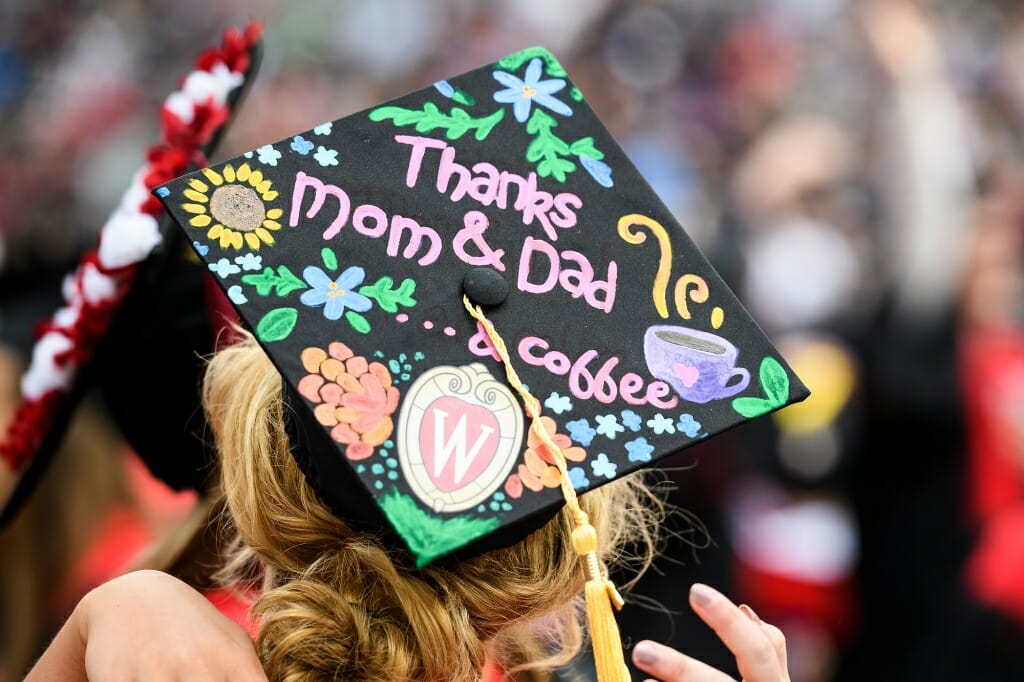 Photo of mortarboard thanking Mom, Dad and coffee.